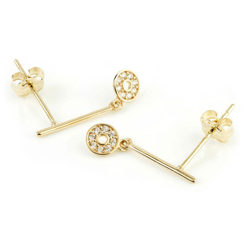 9ct Gold Bar Stud with Pave Crystal Disc Earrings