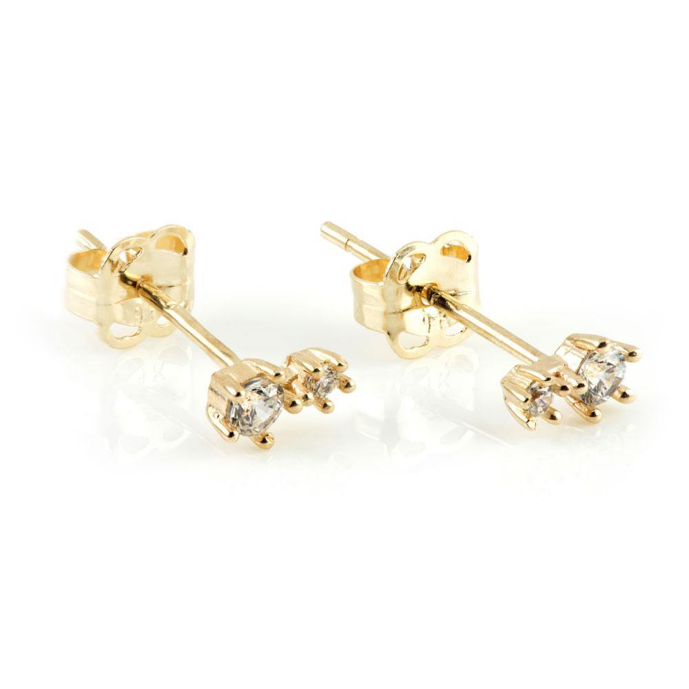 9ct Solid Gold Double Star Shaped Gem Stud Earrings