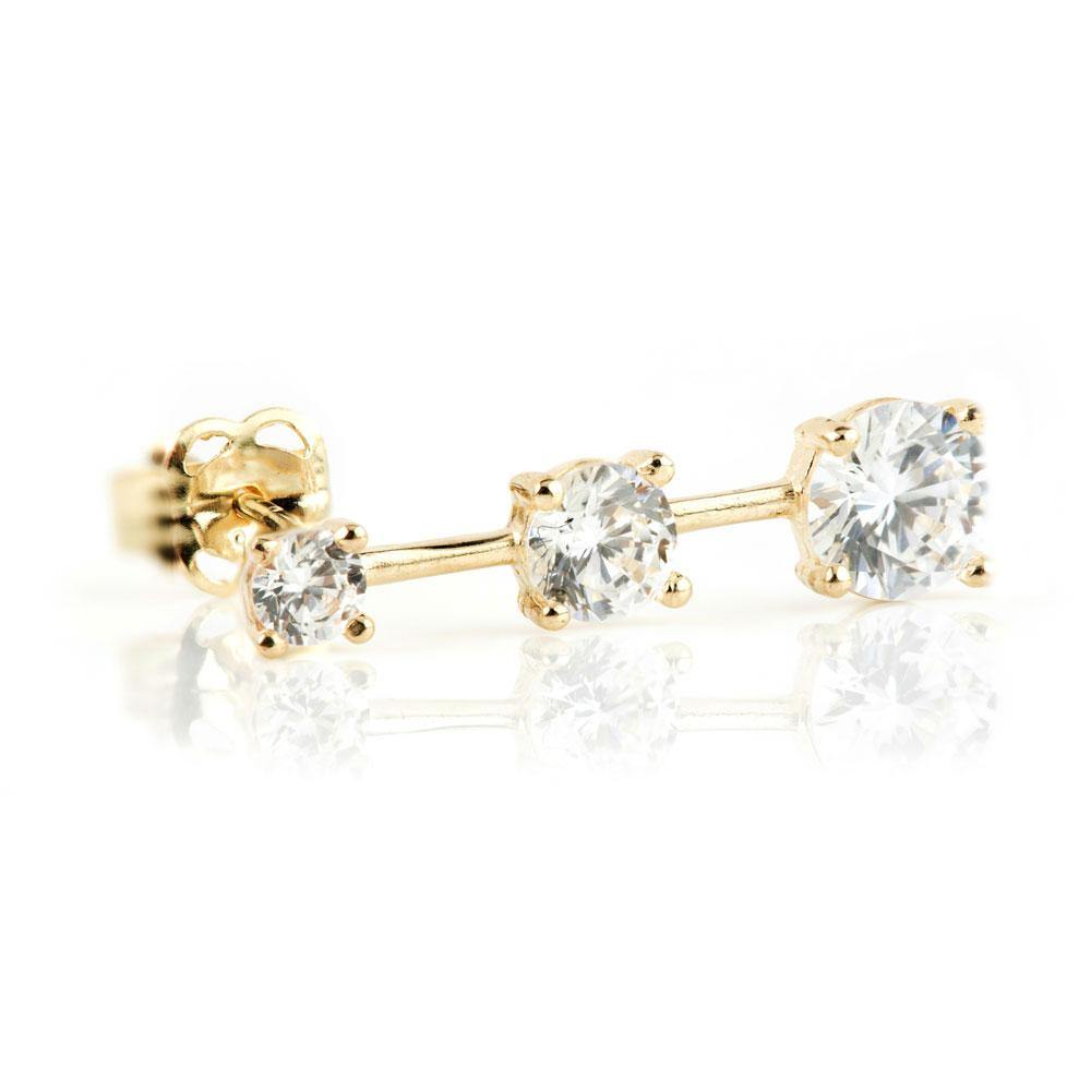 9ct Solid Gold Gem Ear Climber Earrings