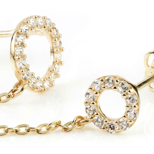 9ct Solid Gold Chain Linked Gem Discs Double Stud Earring
