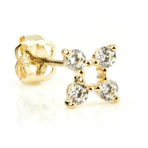 Open image in slideshow, 9ct Solid Gold Crystal Flower Stud Earring