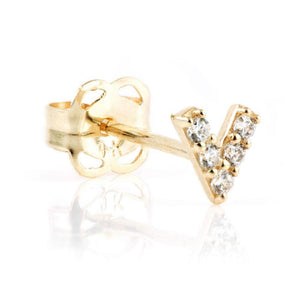9ct Solid Gold Gem V Stud Earring