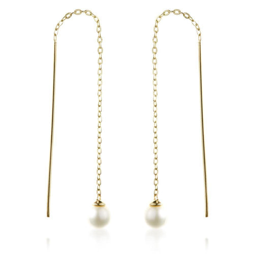 9ct Solid Gold Threader Earrings with Pearl