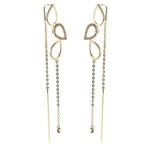 9ct Solid Gold Threader Earrings with Triple Tear & Hanging Gem