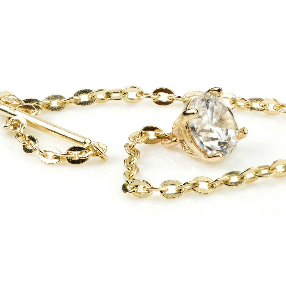 9ct Solid Gold Threader Earrings with Hanging Gem
