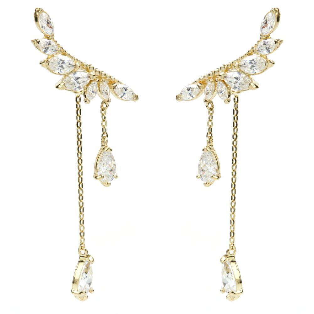 9ct Solid Gold Multi Gem Leaf & Hanging Gems Ear Climber Earrings
