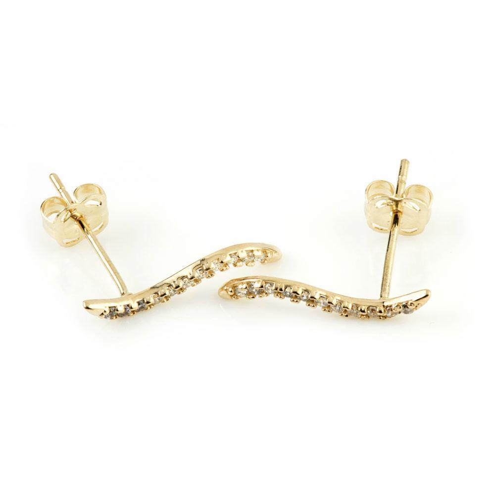 9ct Solid Gold Gem Swerve Ear Climber Earrings