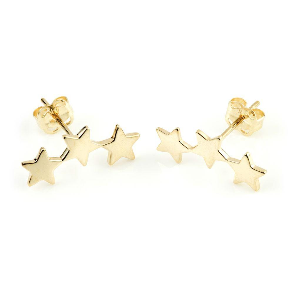 9ct Solid Gold Triple Star Ear Climber Earrings
