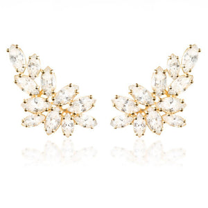 Open image in slideshow, 9ct Solid Gold Gem Leaf Ear Climber Earrings