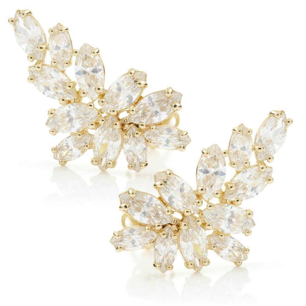 9ct Solid Gold Gem Leaf Ear Climber Earrings