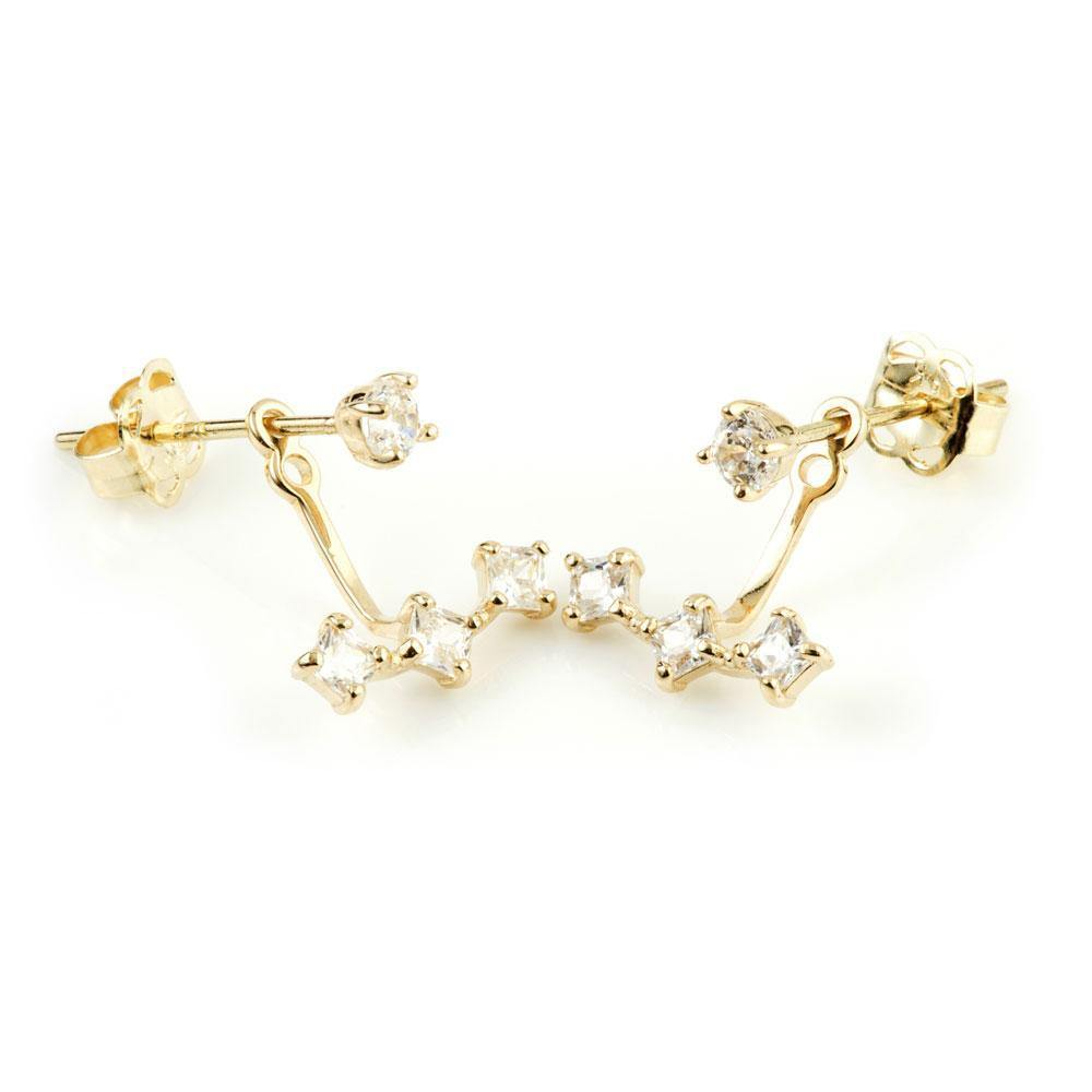 9ct Solid Gold Ear Studs with Triple Square Gem Jacket