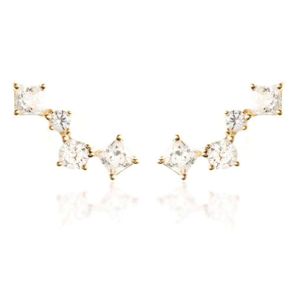 9ct Solid Gold Squares Ear Climber Earrings - ZuZu Jewellery