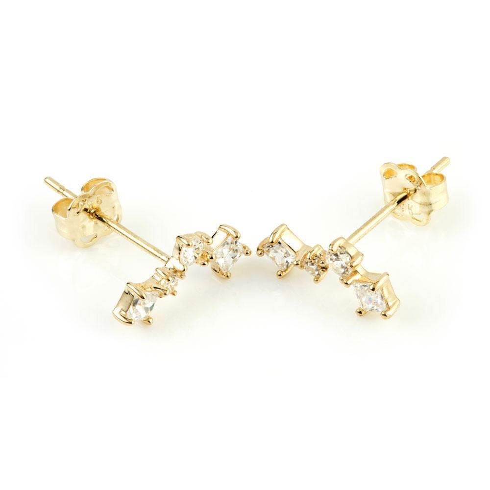 9ct Solid Gold Squares & Stars Ear Climber Earrings