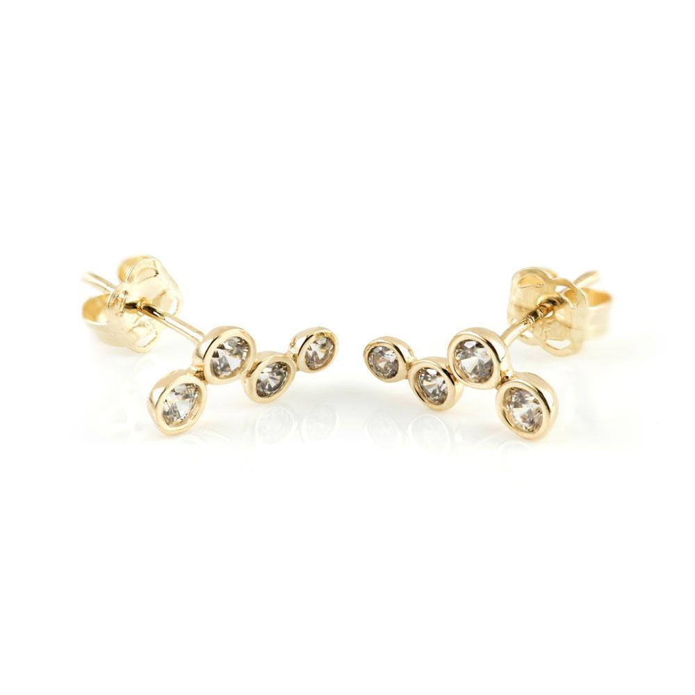 9ct Solid Gold Four Stone Ear Climber Earrings