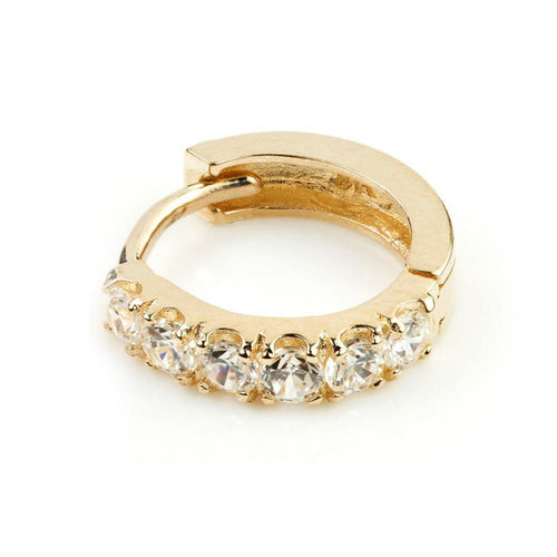 9ct Gold CZ Cartilage Earring 8mm Hoop