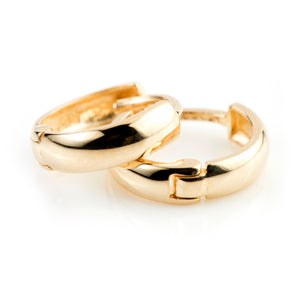 9ct Gold Rounded Plain 9mm Huggie Hoop Earring