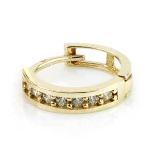 Open image in slideshow, 9ct Gold Crystal Channel 11mm Huggie Earring