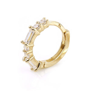 Open image in slideshow, 9ct Gold Baguette Crystal Cartilage Huggie Earring