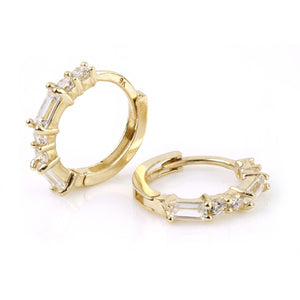 9ct Gold Baguette Crystal Cartilage Huggie Earring - ZuZu Jewellery