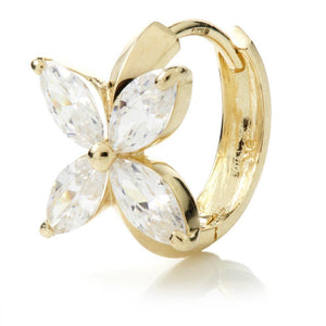 Open image in slideshow, 9ct Gold Crystal Flower 12mm Hoop Earring