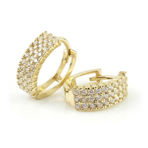 9ct Gold Pave Crystal Oval Cartilage Huggie Earring