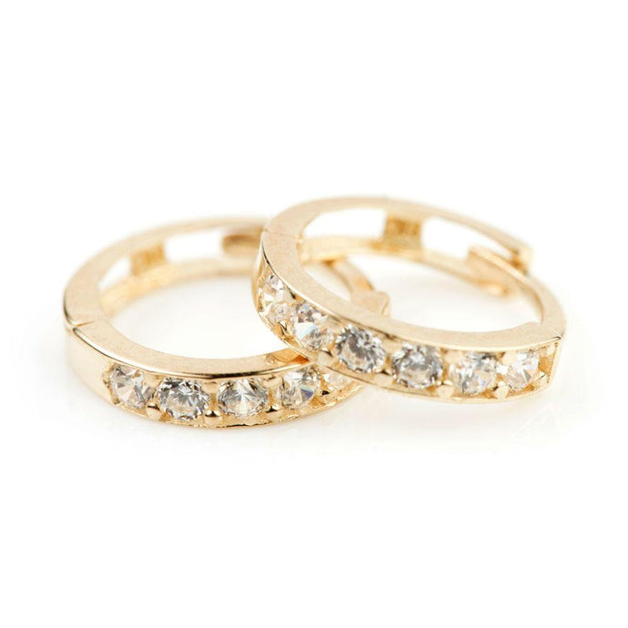 9ct Gold CZ Channel 9.5mm Cartilage Huggie Earring