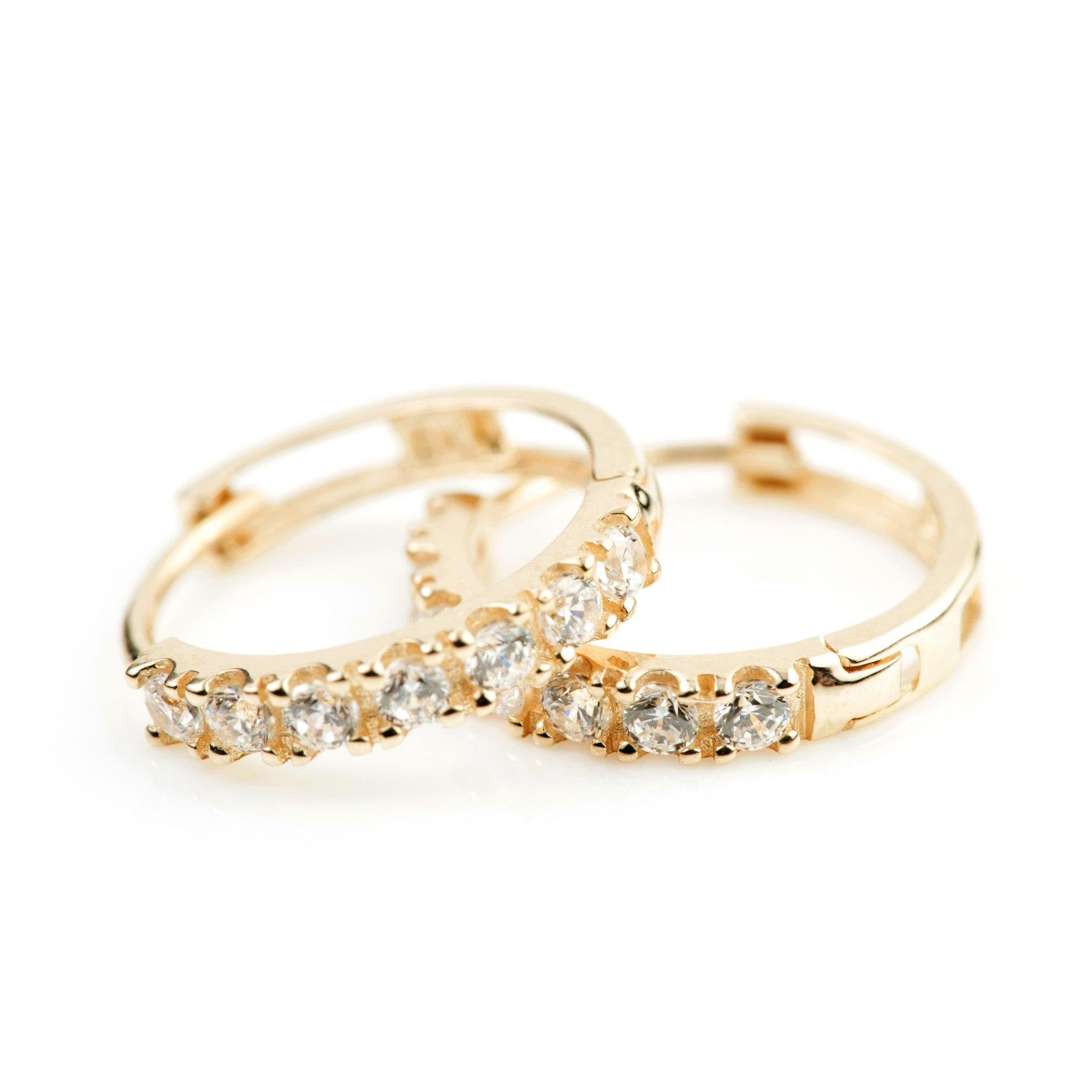 9ct Gold Pave Crystal 12mm Huggie Earring - ZuZu Jewellery