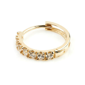 Open image in slideshow, 9ct Gold Pave Crystal 12mm Huggie Earring - ZuZu Jewellery