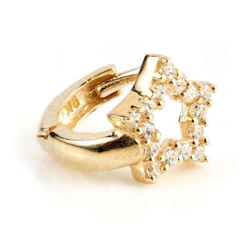 9ct Gold Mini Crystal Open Star Huggie Earring