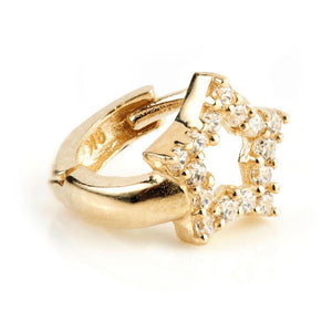 9ct Gold Mini Crystal Open Star Huggie Earring - ZuZu Jewellery