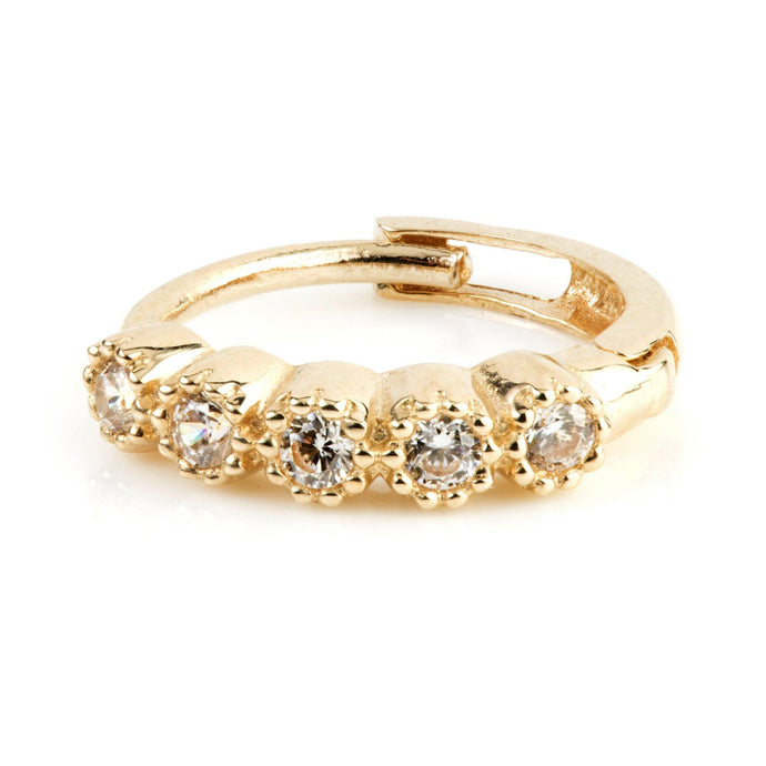 9ct Gold Round CZ 10mm Huggie Hoop Earring