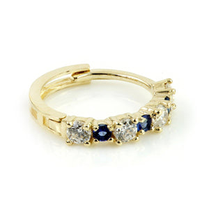 Open image in slideshow, 9ct Gold CZ & Sapphire Blue Cartilage Huggie Earring