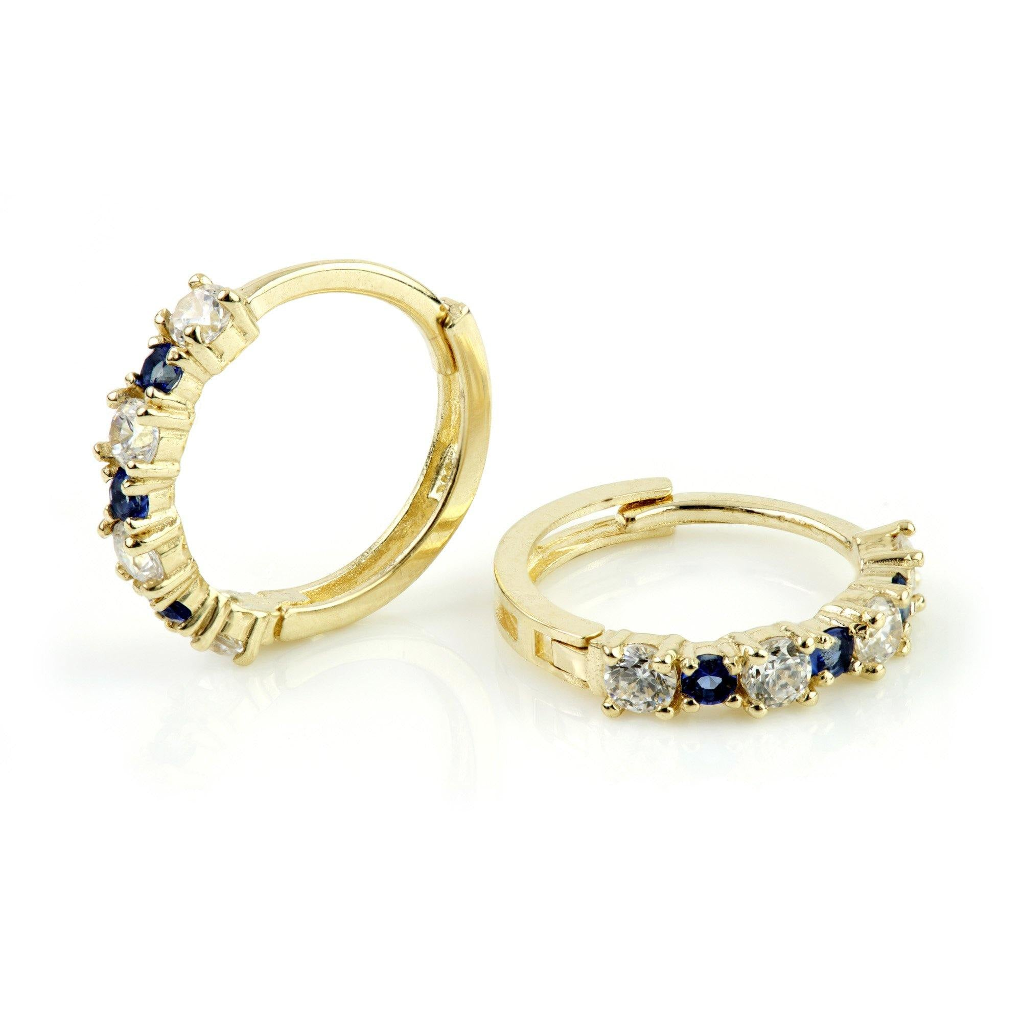 9ct Gold CZ & Sapphire Blue Cartilage Huggie Earring
