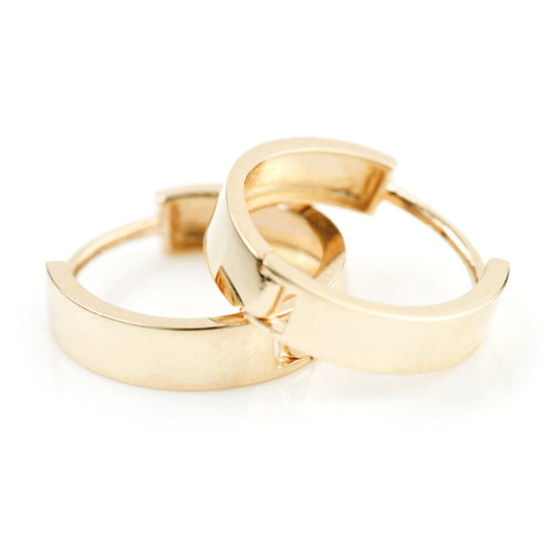 9ct Gold Flat Hoop Cartilage 12mm Huggie Earring