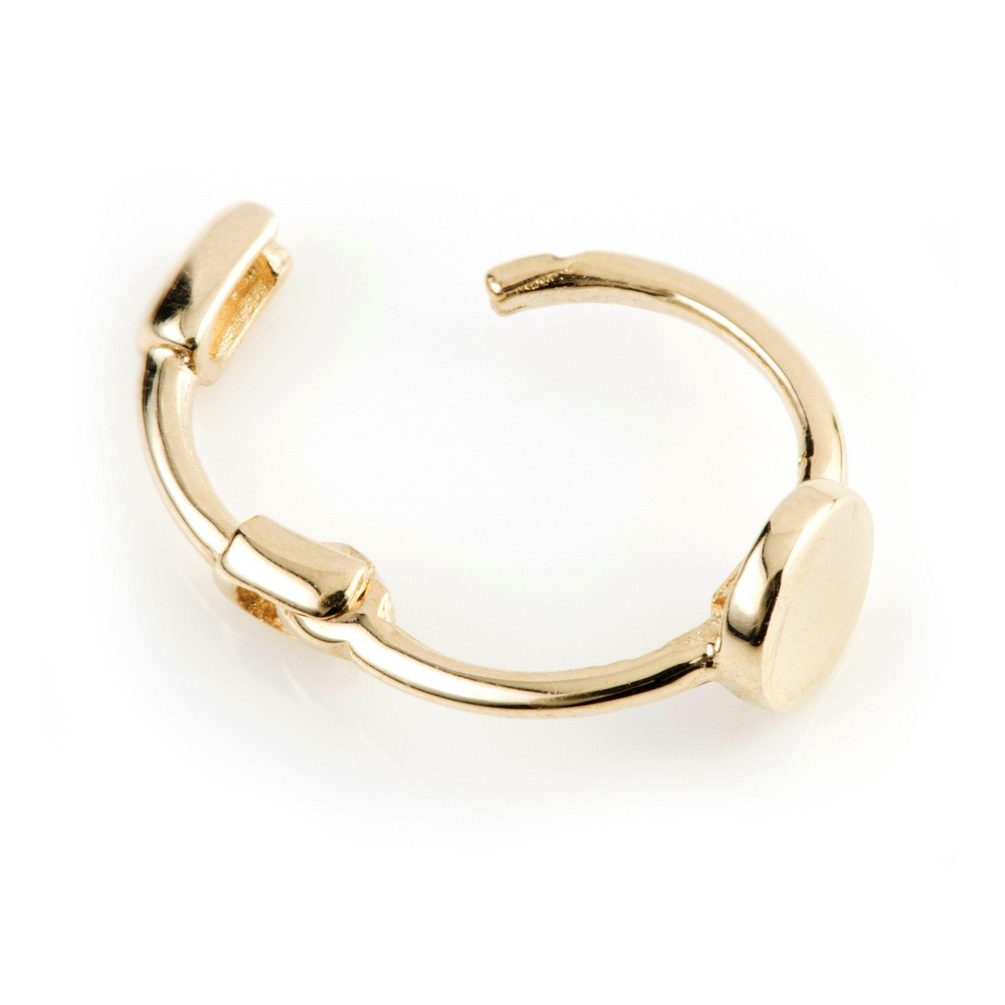 9ct Gold Cartilage Hoop Flat Disc Earring