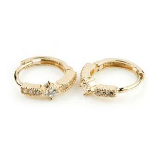 9ct Solid Gold Solitaire Crystal Band Cartilage Huggie Earring