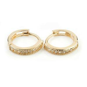 9ct Solid Gold Slim Channel Crystal Cartilage 10mm Huggie Earring