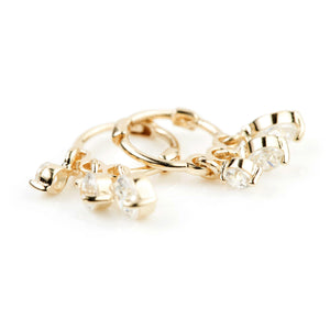 9ct Gold Crystal Hanging Charm Hoop Earring