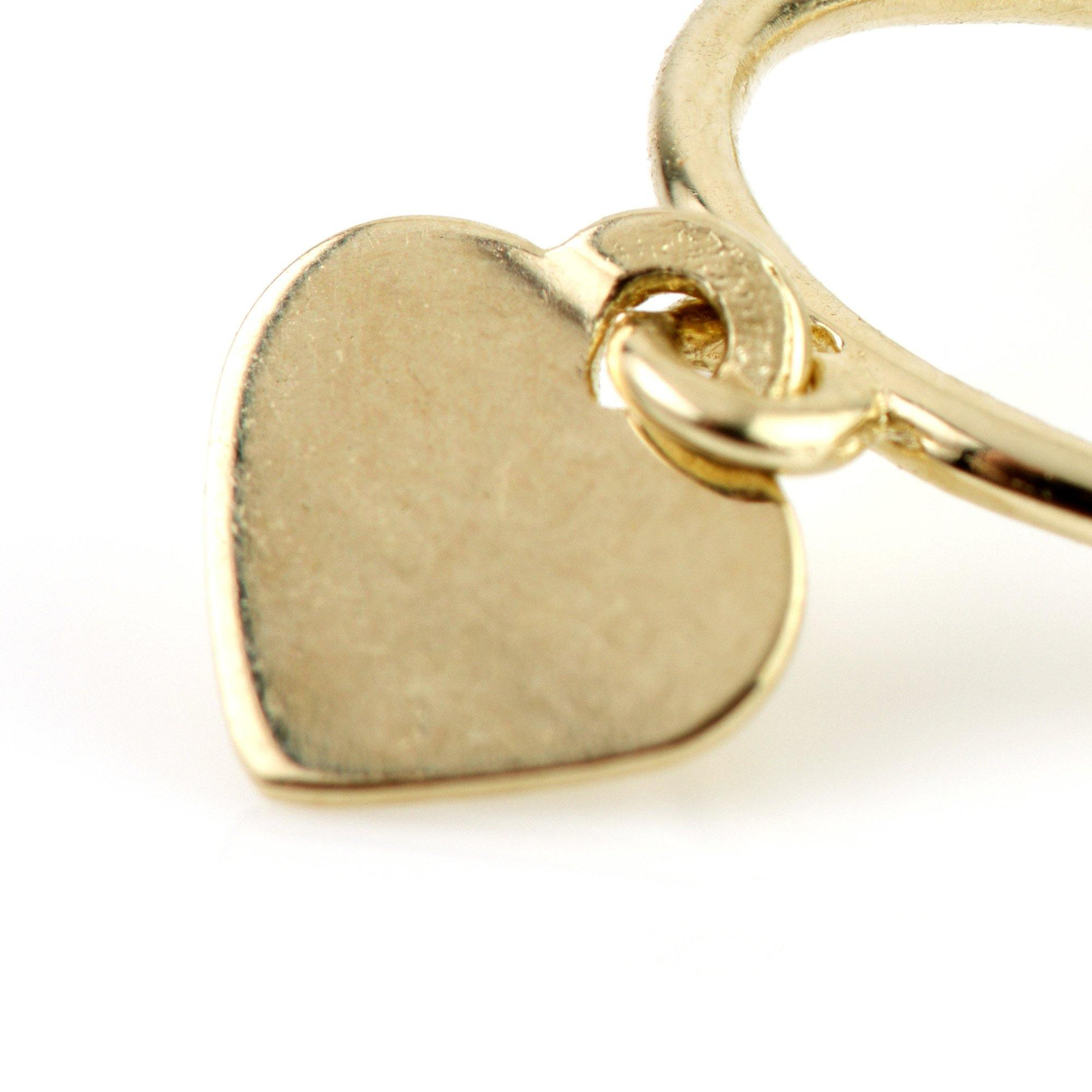 9ct Gold Heart Charm Cartilage Hoop Earring