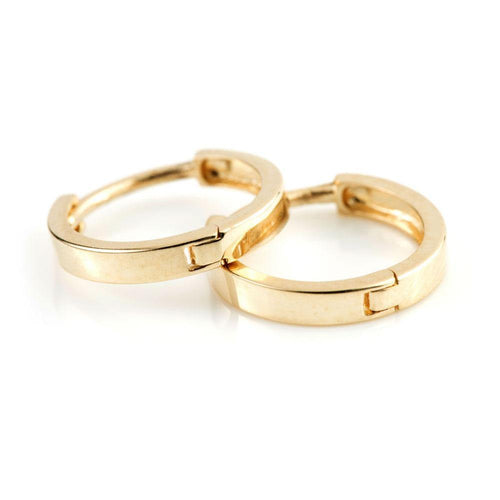 9ct Gold Flat Band Cartilage 11mm Huggie Earring