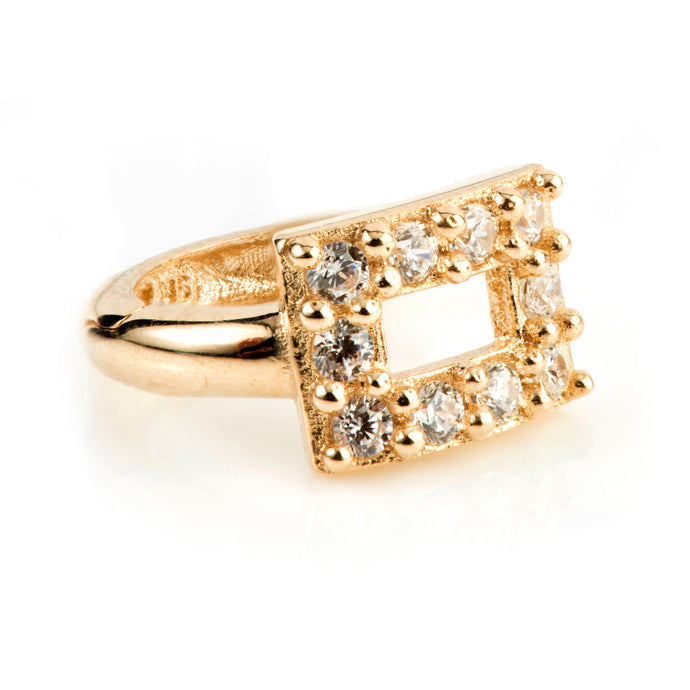 9ct Gold Pave Crystal Rectangle Huggie Earring