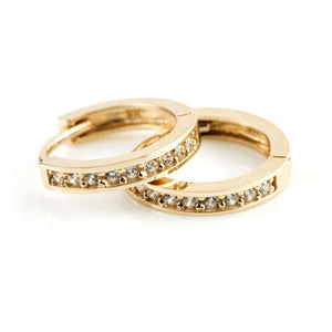 9ct Gold Crystal Channel 14mm Hoop Earring