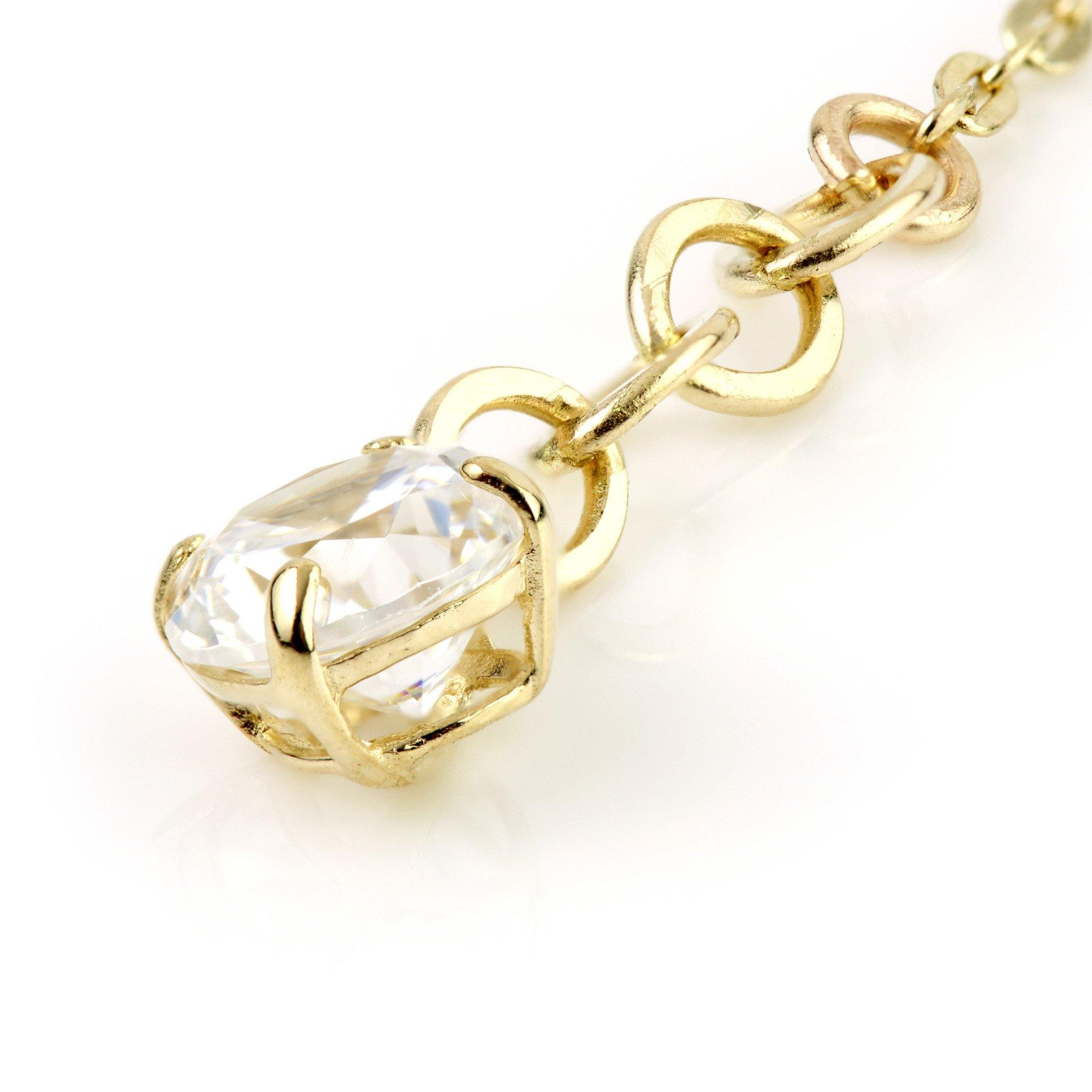9ct Gold Hanging Crystal Chain Huggie Earring
