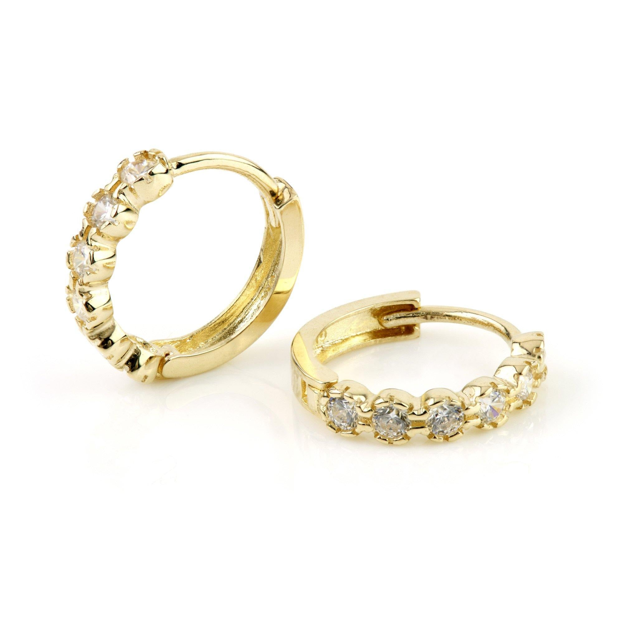 9ct Gold Round Crystal Eternity 11mm Huggie Earring - ZuZu Jewellery