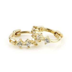 9ct Gold Tiny CZ Cartilage Huggie Earring - ZuZu Jewellery