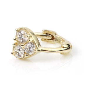 9ct Gold Crystal Trinity Cartilage Huggie Earring
