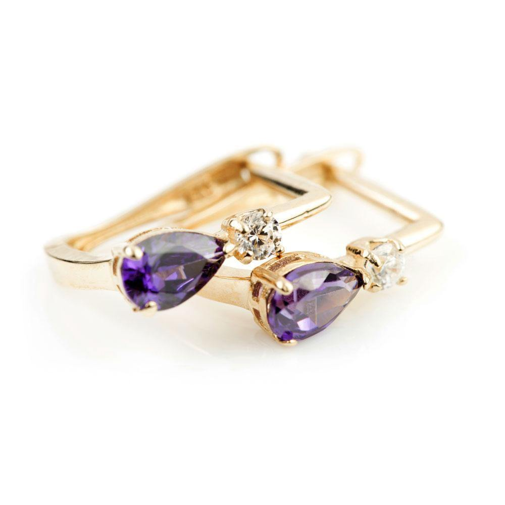 9ct Solid Gold Crystal & Amethyst Teardrop Hinge Earrings
