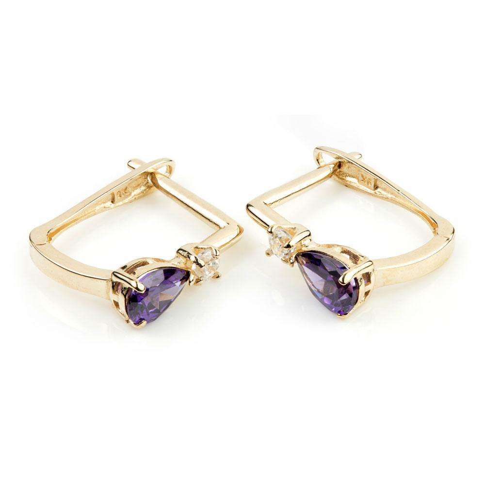 9ct Gold Crystal & Amethyst Colour Teardrop Hinge Earrings