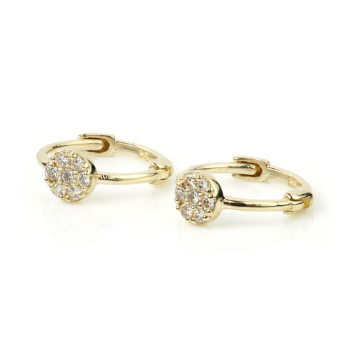 9ct Gold Crystal Circle Cartilage 9mm Huggie Earring