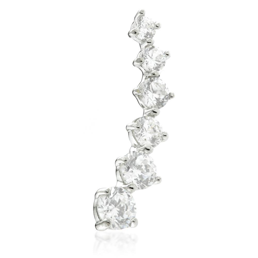 9ct Solid Gold Crystal Curved Ear Climber Earrings